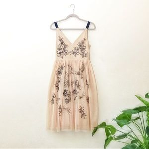 Embroidered tulle midi dress in nude